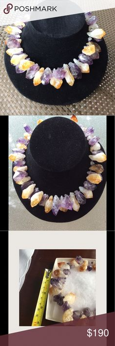 Chunky Amethyst Citron Statement Necklace Retired from the Smithsonian collection this chunky necklace is extremely rare.  Stunning shade of lavender and gold interspersed with tiny lavender beads. This is a conversation piece and a collectors dream. It would also look gorgeous around your neck!  17 inches in length. Very heavy. All natural minerals. Smithsonian Jewelry Necklaces