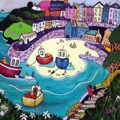 Tenby-beach-and-town Helen Elliot prints