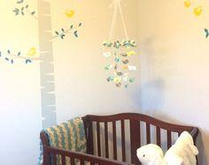 Yellow Gray Nursery Mobile Bird Nursery Mobile by LovebugLullabies