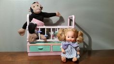 VTG MATTEL BARBIE HEART FAMILY BABY DOLL & CHIKA CHIMP WITH CRIB/JUNGLE GYM #DollswithClothingAccessories