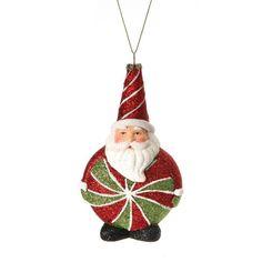 Glitter Candy Santa Ornament (Set of 3)