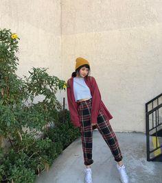 Plaid Pants Burgundy Cardigan Yellow Beannie Beanie Outfit 0a397e6d3fa3
