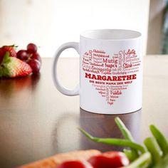 Persönliche Tasse mit Wortwolke um den Namen in Herzform. Sehr individuelles Geschenk. #Tasse #Kaffebecher #Geschenk