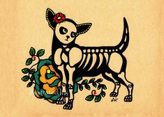 Day of the Dead Dog CHIHUAHUA Tattoo Print 5 x 7 by illustratedink