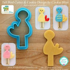 I have always loved the uniqueness and smile-inducing effect of Laurie @Langlen of Cookie Bliss' cookies and as you can see, that also carries over when she designs cookie cutters! I just love the character of her delightful long-legged bird!  I have had cookiers tell me that they are going to stand him up in a cupcake as well and that is just such the cute idea!  So, for cookies or cupcakes, Tall Bird Cutter by Cookie Bliss is available at www.WhiskedAwayCutters.Etsy.com
