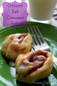 Crescent Roll Cinnamon Rolls. I made these this morning and they were easy and delicious! I think it needs more like 15 minutes to cook, but I suppose it depends on your oven. Great for guests!!