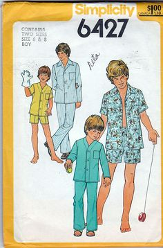 Simplicity 6427; ©1974; Boys' Pajamas in Two Lengths; Size 6 & 8, FF - New Vintage Studio