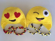 Hand crocheted Emoji hats great for kids teens or adults $20