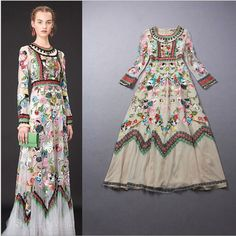 Fashion Womens Long Sleeve Embroidered Flowers Vintage Tulle Long Dress S-Xl