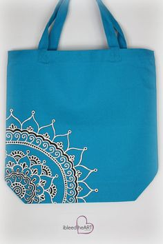 Bright Blue Tote Bag with White Mandala Henna by ibleedheART