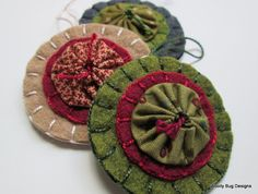 Wool Felt Yo Yo Fall Ornaments Set of 3 by WoollyBugDesigns, $18.00
