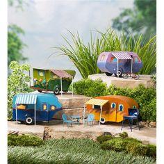 Miniature Fairy Garden Camper with Awning | Miniature Fairy Gardens