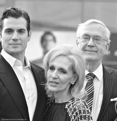 Henry Cavill with his mum and daf