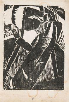 Frits van den Berghe - 3 works: De zonneschilder; Bathers; Malpertuus; Creation Date: 1920; Medium: woodcut, linocut - silk paper