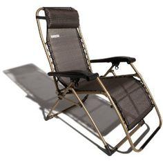 #5: Strathwood Basics Anti-Gravity Adjustable Recliner Chair, Dark Brown with Champagne Frame