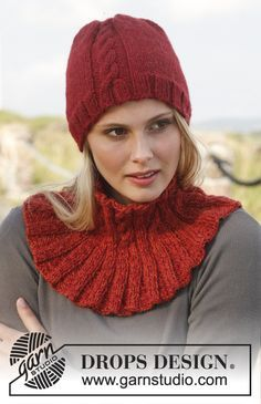Gorro e gola DROPS com tranças, tricotados com 2 fios Alpaca. Modelo gratuito de DROPS Design.