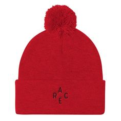 5e769c87480 Race criss cross - Embroidered Pom Pom Knit Cap. Cotton HatLove ...