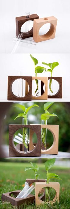 Wooden Base Stand glass Test Tube Planter Flower Pot Vase