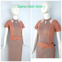 Traditional Dresses Designs, Myanmar Dress Design, Myanmar Traditional Dress, Frock Dress, Burmese, Frocks, Designer Dresses, Asian, Dress Designs