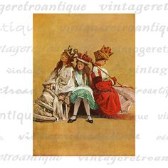 Alice with the Red and White Queen Alice in Wonderland Digital Image Download Collage Sheet. High resolution, high quality digital graphic from antique artwork for printing, fabric transfers, and many other uses. For personal or commercial use. This digital graphic is high quality, high resolution at 8½ x 11 inches. A Transparent background png version is included.