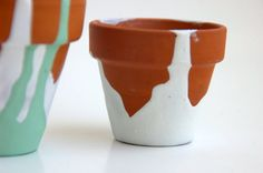 N E W Set of Two Dip Painted Clay Pots by Chiffon Aérer  by ChiffonAerer, $9.00
