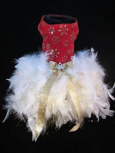 NEW Couture Fancy Holiday Feathery Dog Dress _ Dog Clothes _ Feather Tutu _ XS #handmade Cheap Dog Clothes, Large Dog Clothes, Christmas Things, Christmas Dog, Small Dog Clothes Patterns, Dog Closet, Dog Christmas Clothes, Feather Tutu, Dog Tutu
