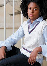 Free Rowan knitting pattern: boys cricket style tank top, sweater