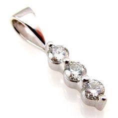 Contemporary 3 Diamond Past, Present & Future Pendant 14K White Gold | FJ R #Pendant