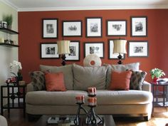 home offices love the pictures over the couch try equal numbers of like frames this one burnt red home office