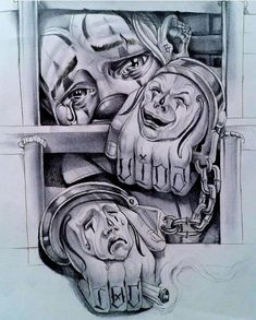 Drawings - #Drawings Chicano Tattoos Gangsters, Lettrage Chicano, Chicano Tattoos Sleeve, Chicano Style Tattoo, Tatouage Lowrider, Lowrider Tattoo, Arte Lowrider, Prison Drawings, Gangster Drawings