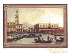 Venezia tapestry shows the waterways and canals of Venice in a sunset scene.