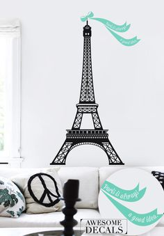 """10% OFF Spread the love Eiffel tower Wall Decal - Eiffel tower Wall sticker- 25"""" x 47"""" - 026. $40.50, via Etsy."""