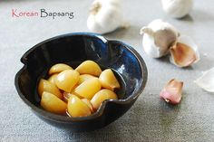 Pickled garlic (maneul jangajji – 마늘장아찌) is a staple side dish in Korea. It's one of my father's favorite dishes. Jeju Island, where my parents are from, is well … Garlic Recipes, Asian Recipes, My Recipes, Oriental Recipes, Asian Desserts, Asian Foods, Healthy Recipes, Healthy Food, Japanese Pickles