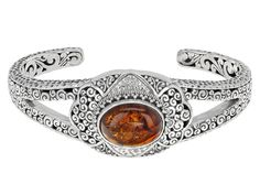 Artisan Gem Collection Of Bali(Tm) 16x12mm Oval Cabochon Polish Amber Sterling Silver Cuff Bracelet