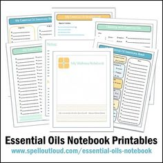 Printable essential oil notebook pages