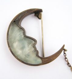 victorian pin moonstone man in the moon