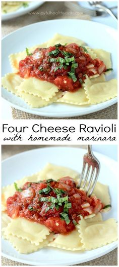 Four Cheese Ravioli with Homemade Marinara Sauce, absolutely delicious and 15 minutes to make! | http://www.joyfulhealthyeats.com
