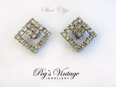 Vintage Clear Rhinestone Shoe Clips, Shoe Accessories, Silver Tone Bluette Shoe Clips, Bridal Jewelry by PegsVintageJewellery on Etsy