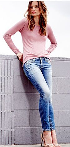 Light Legging Ankle Jean @Pascale Lemay Lemay De Groof w/ soft blush pink sweater