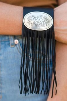 Black fringe leather cuffed bracelet with buckle and genuine black leather. Love boho cuffs! Shop this Cowgirl Up Black Fringe Plate Cuff from @threebirdnest