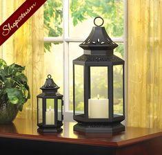 Large Black Stagecoach Candle Garden Lantern Centerpiece