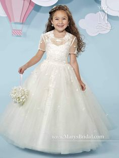 Sleeveless Tulle/Lace Flower Girl Dress by Mary's Bridal Cupids F518