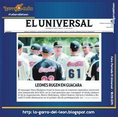 #LeonesEnPortadas El Universal del 18 de Septiembre de 2014 #Leones #Caracas #LeonesDelCaracas #LVBP #Caraquistas #LaGarraDelLeon #Venezuela
