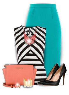 Coral, Turquoise & Black by colierollers on Polyvore featuring polyvore fashion style Karen Millen Roland Mouret 8 Michael Kors Jennifer Fisher Alexa Starr clothing