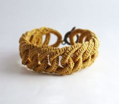 Irish Crochet Bracelet Golden Faux Chainmail by Nothingbutstring