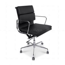 Eames Style Office Chair Low Back Soft Pad Black Leather - Replica Low Back, Office Environment, Eames, Black Leather, Chair, Furniture, Home Decor, Style, Products