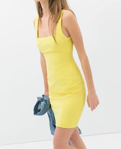 Yellow fitted tube dress