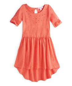 Another great find on #zulily! Loving Coral Jewel Knit Hi-Low Dress - Girls #zulilyfinds