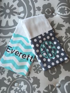 Burp Cloth set of 2 with custom monogram baby by SewSoutherland
