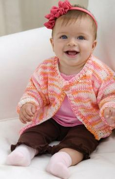 Easy Knit Baby-to-Toddler Cardi Free Knitting Pattern from Red Heart Yarns